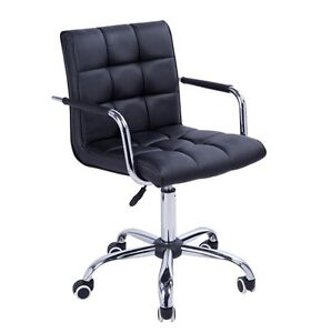 QTY 4 Modern PU Leather Midback Executive Office Chair - Black