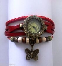 ROUND DIAL FLOWER DESIGN VINTAGE BRACELET WATCH FOR WOMEN - RED