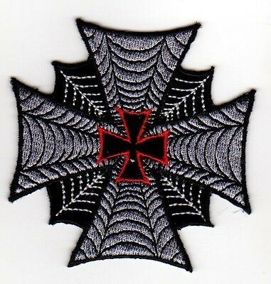 IRON MALTESE CROSS SPIDER WEB EMBROIDERED IRON ON PATCH biker vest cut rocker