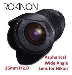 NEW* ROKINSON 16MM NIKON LENS - 110846620 - Rokinon 16mm F2.0 Ultra Wide Angle Lens for Nikon AE