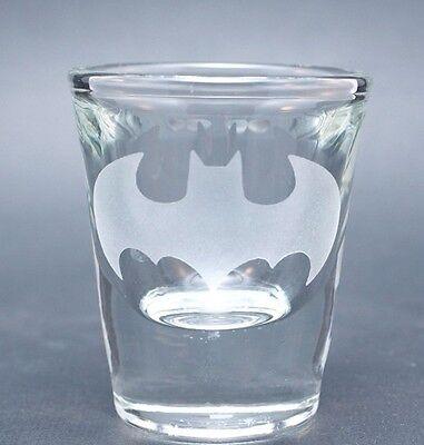 Sandblast Etched 1 1/2 oz Thick Base Shot Glass - Batman