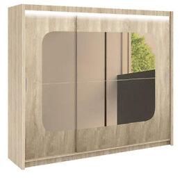 Bromwich 250cm Mirrored Sliding Wardrobe With Lights - Light Oak
