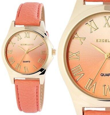 Damen Armbanduhr Rosa-Peach/Gold Kunstlederarmband von Excellanc 1930/426