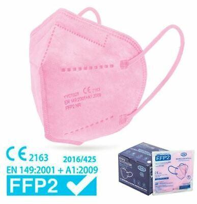 50xHochwertige FFP2 Maske Mundschutz 5-lagig rosa ✅ mit Ohren-Komfort-Clips