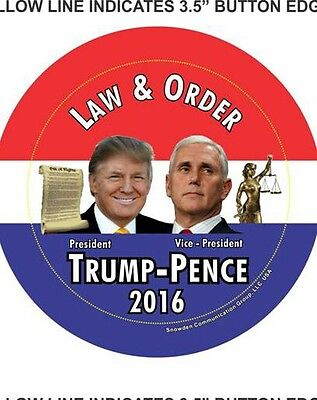 Donald Trump  Mike Pence  Law And Order  Campaign Button