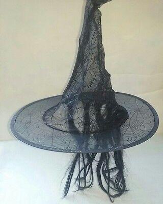 Wig Web (HALLOWEEN COSTUME KIDS BLACK WITCH WEB HAT w/BLACK WIG FAKE HAIR WORLOCK)