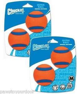 Chuckit Ultra Dog Ball 2 x 2 Pack Medium Ball 6.5cm High Bounce Toy (4 Balls)