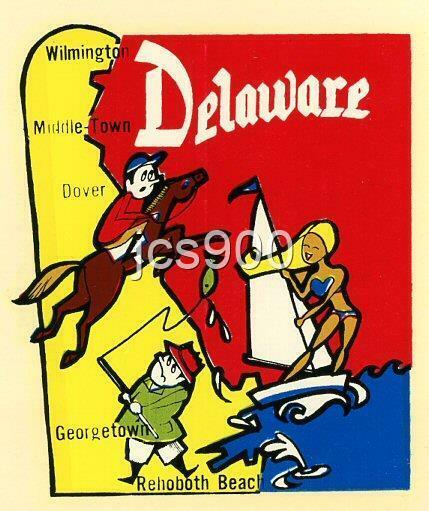 VINTAGE DELAWARE STATE SOUVENIR LUGGAGE TRAVEL WATER TRANSFER DECAL ART 60s RARE