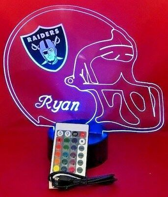 Oakland Raiders NFL Football Light Up Lamp LED Light and Remote Personalize Free](Light Up Footballs)