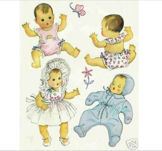 "5-Pattern Pack for 20""  Baby Dolls Vintage Patterns"