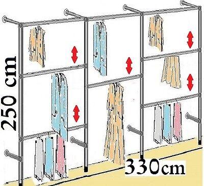 Kleiderstander Wandregal Kleiderkammer Textilregal Ankleidezimmer Garderobe W.04