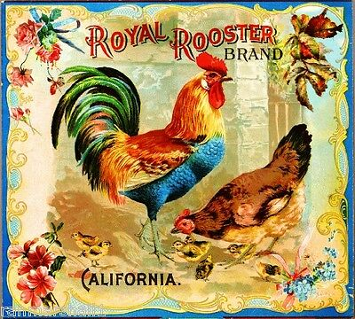 Riverside Royal Rooster Chickens Chicken Orange Fruit Crate Label Print