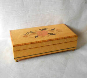Vintage Birch Wood Jewelry Music Box