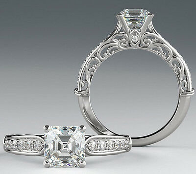 1.44 carat, 1.20 ct Asscher cut Diamond Engagement 14k Gold Ring G color VS1 #12