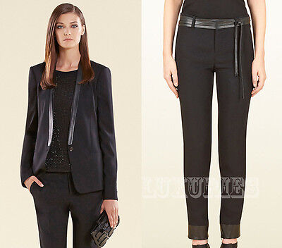 $3,400 GUCCI SUIT LEATHER COLLAR JACKET BLACK STRETCH PANTS WITH LEATHER 38 / 2