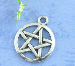 Wholesale-Lots-Silver-Tone-Pentagram-Charms-Pendants-20x17mm