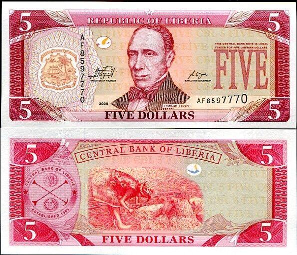 LIBERIA 5 DOLLARS 2009 P 26 UNC LOT 5 PCS