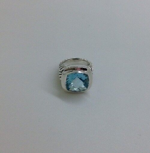 David Yurman .925 Sterling Silver 14mm Blue Topaz Albion Ring Sz 7