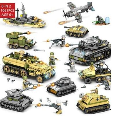 MILITARY VEHICLE TANK GERMANY VS USA 1061 PIECE SET LOT - SHIPS FROM USA