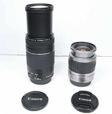 Canon EF 28-90mm & 75-300mm TWO lens SET for EOS T7i T6i 80D 7D 5D II III 6D etc