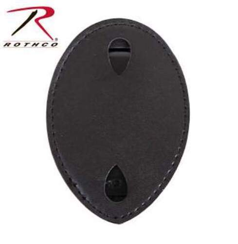 Shield Style Leather Clip On Badge Holder