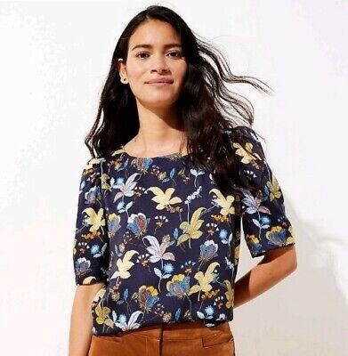 Loft Floral Puff Sleeve Top Blouse  BLUE   NWT $59.50                -