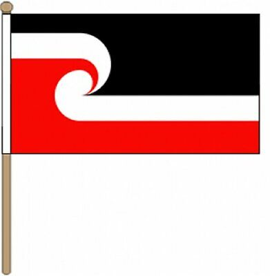 "New Zealand Maori (12"" x 18"") Large Hand Waving Flag"