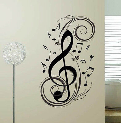 MUSIC NOTE Swirl Vinyl Wall Sticker Home Decal Decor Lettering Words Art  - Music Note Decorations
