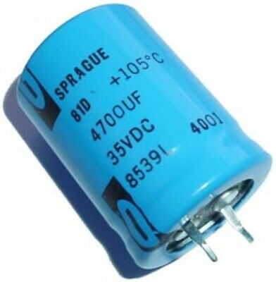 4700uf 35v 105c Radial Electrolytic Capacitors Snap Mount Sprague 3 Pcs