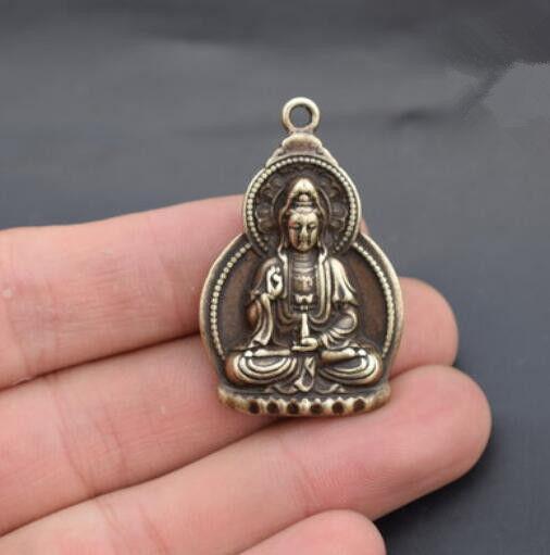 China Pure brass Guanyin bodhisattva Buddha small pendant