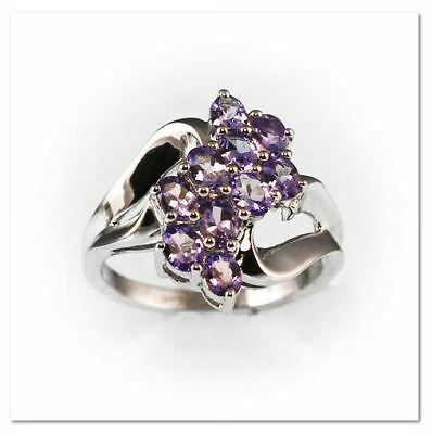 925 Sterling Silver Genuine Tanzanite Cluster - 925 Silver Cluster Ring