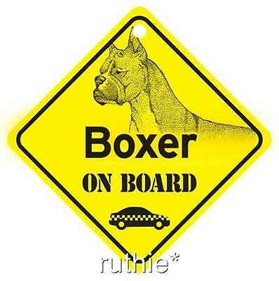 Boxer On Board Dog Window Sign Made in USA