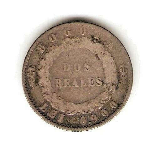 1851 COLOMBIA SILVER COIN 2 REALES - REPUBLIC NUEVA GRANADA - RARE