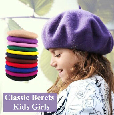 Girl Kids Retro Winter Beret Cap Hat Wool Warm French Artist Classic Beanie Cap - French Artist Beret