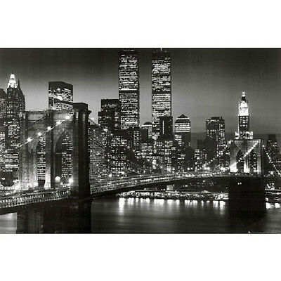 (New York City Brooklyn Bridge Night Skyline Art Print Poster NYC black and white)