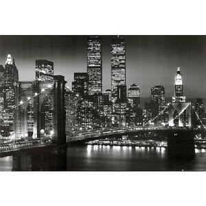 New York City Brooklyn Bridge Night Skyline Art Print Poster NYC black and white