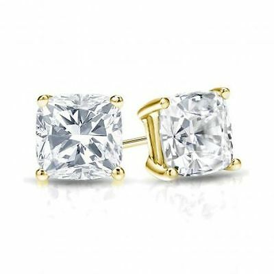 18k Brilliant Cut Stud - 3Ct Cushion Cut 18K Yellow Gold Brilliant Screw Back Stud Earrings