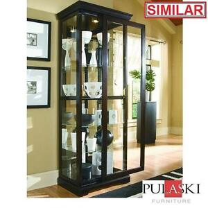 NEW PULASKI TWO WAY SLIDING CABINET - 111885889 - CURIO CHERRY FINISH SLIDING DOOR CABINETS GLASS SHELVES FURNITURE D...