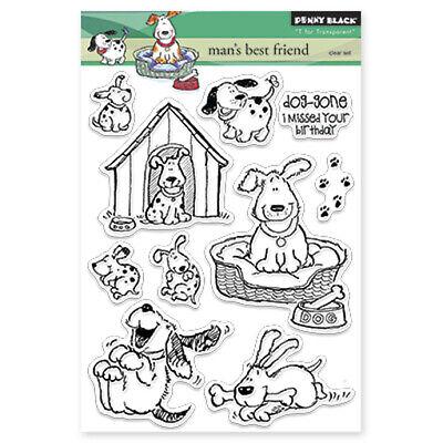 New Penny Black MAN'S BEST FRIEND Clear Stamp Dog Puppy Happy Birthday Paw