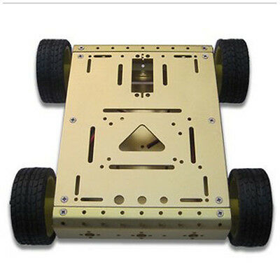 4wd Drive Aluminum Mobile Smart Car Gold Robot Platform For Arduino Uno R3 Motor
