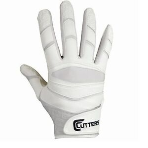 CUTTERS X40 SOLID WHITE C-TACK REVOLUTION FOOTBALL RECEIVER GLOVES - ADULT LARGE