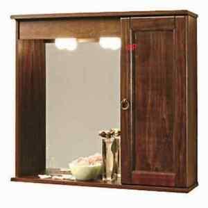 Specchio da bagno c anta e mensola in legno colore noce ebay for Specchio noce