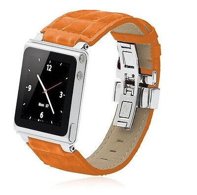 iWatchz Timepiece Armband für Apple iPod Nano 6 , Leder orange,nanoclipz