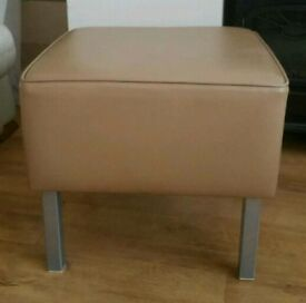 Leather Beige Stool..(Heavy)