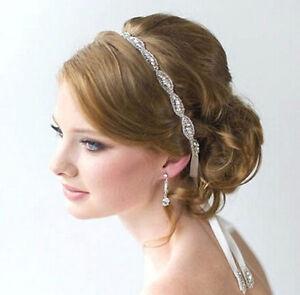 White Satin Ribbon Crystal Beaded Headband Hair Band Headpiece Wedding Bridal