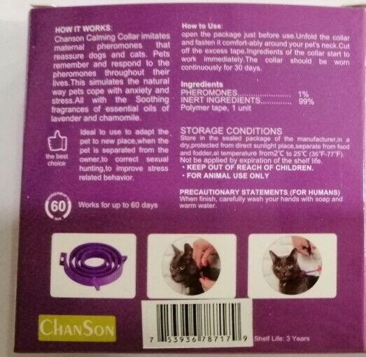 Calming Collar For Cats, Lavender And Chamomile, Pheromone Technology, 60 Days - $7.99
