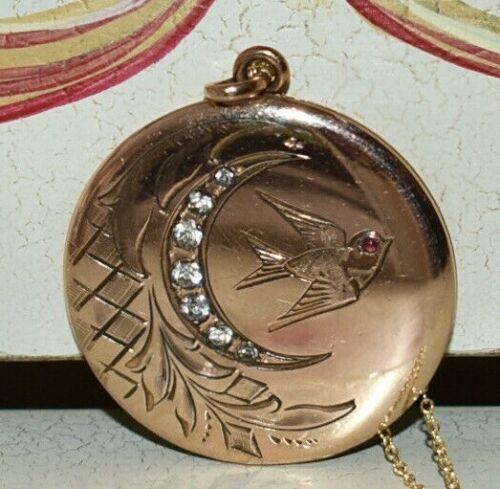 ABSOLUTELY FABULOUS! Victorian Antique *BIRD & MOON*  Paste GF LOCKET Necklace