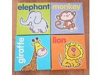 Jungle animal canvas prints x4; elephant; monkey; lion; giraffe