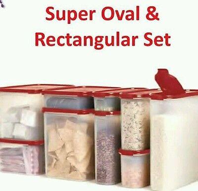 Tupperware Modular Mates Super Oval & Rectangular Set Red Seals