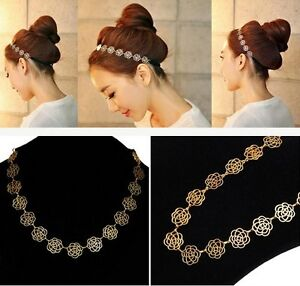 Fashion-New-Lovely-Metallic-Lady-Hollow-Rose-Flower-Elastic-Hair-Band-Headband